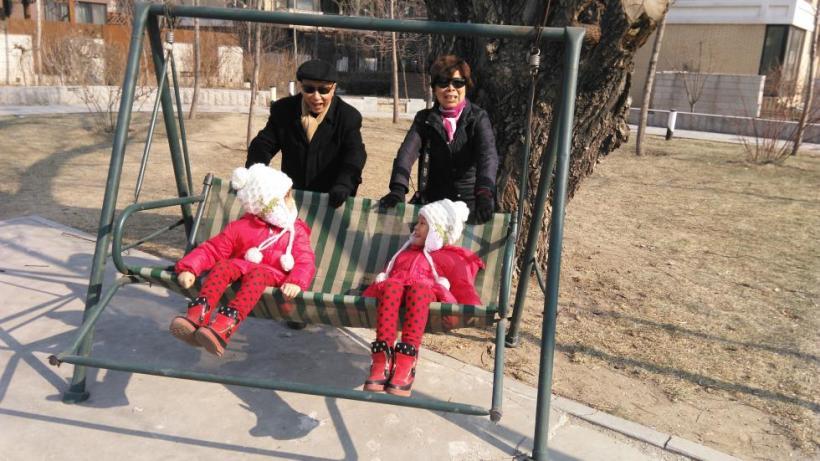 2016年春节与何燕博士的大宝小宝在褐石园